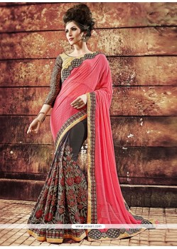 Voguish Grey And Pink Resham Work Designer Saree