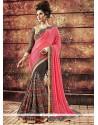 Voguish Grey And Pink Resham Work Designer Saree