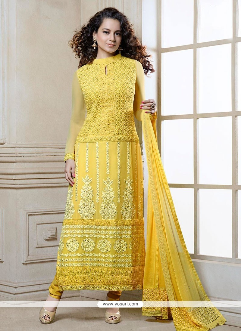 Kangana Ranaut Yellow Georgette Churidar Suit