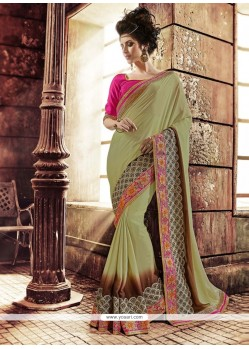 Praiseworthy Georgette Green Designer Saree