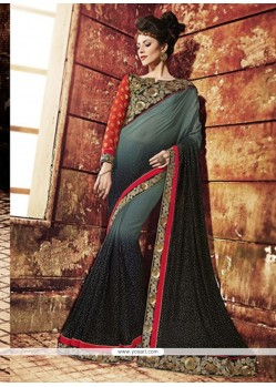 Striking Art Silk Black And Grey Designer Saree