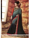 Striking Art Silk Black And Grey Designer Saree