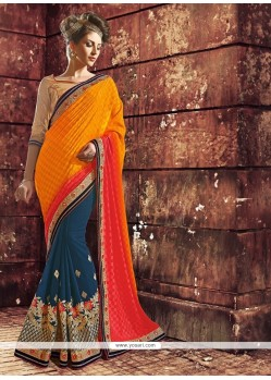Simplistic Rust And Orange Zari Work Designer Saree