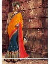 Simplistic Rust And Orange Zari Work Designer Saree