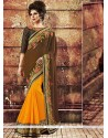 Lustrous Georgette Yellow And Brown Embroidered Work Designer Saree