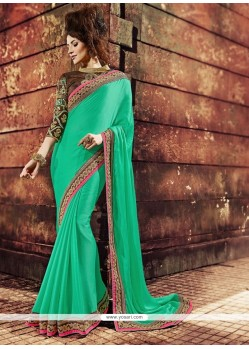 Prepossessing Green Resham Work Designer Saree