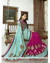 Haute Resham Work Bamber Georgette Designer Saree