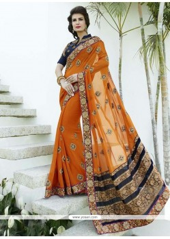 Adorable Embroidered Work Orange Designer Saree