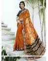 Adorable Embroidered Work Orange Designer Saree