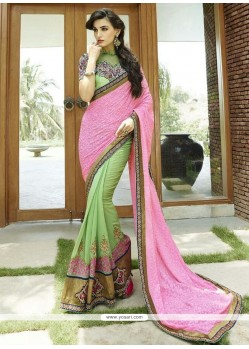Lustrous Lace Work Pink And Sea Green Designer Saree