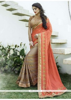 Majesty Peach Designer Saree