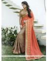 Majesty Peach Designer Saree