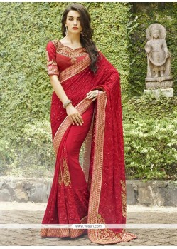 Spellbinding Patch Border Work Bamber Georgette Designer Saree