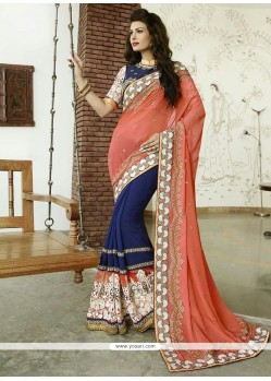 Celestial Patch Border Work Bamber Georgette Designer Saree