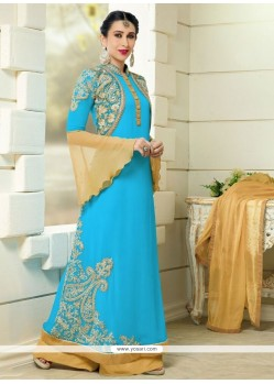 Karishma Kapoor Turquoise Designer Palazzo Salwar Suit