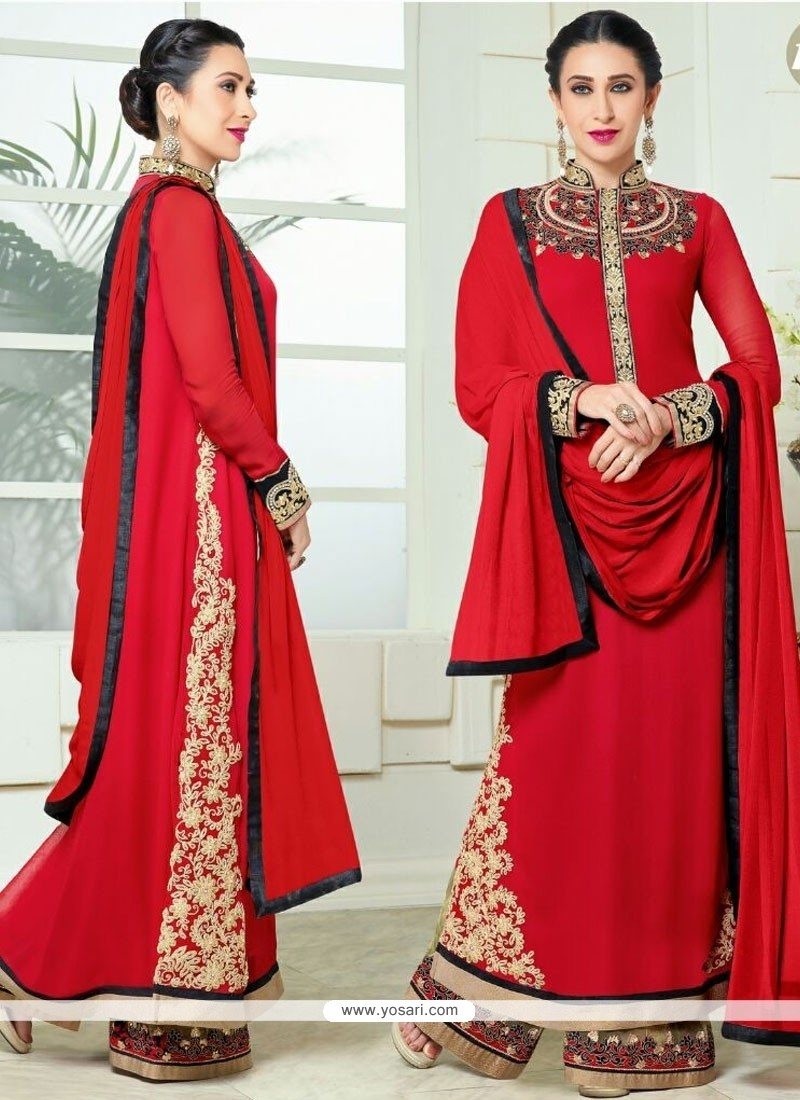 Karishma Kapoor Red Designer Palazzo Salwar Suit