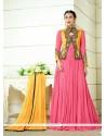 Karishma Kapoor Pink Zari Work Floor Length Anarkali Salwar Suit