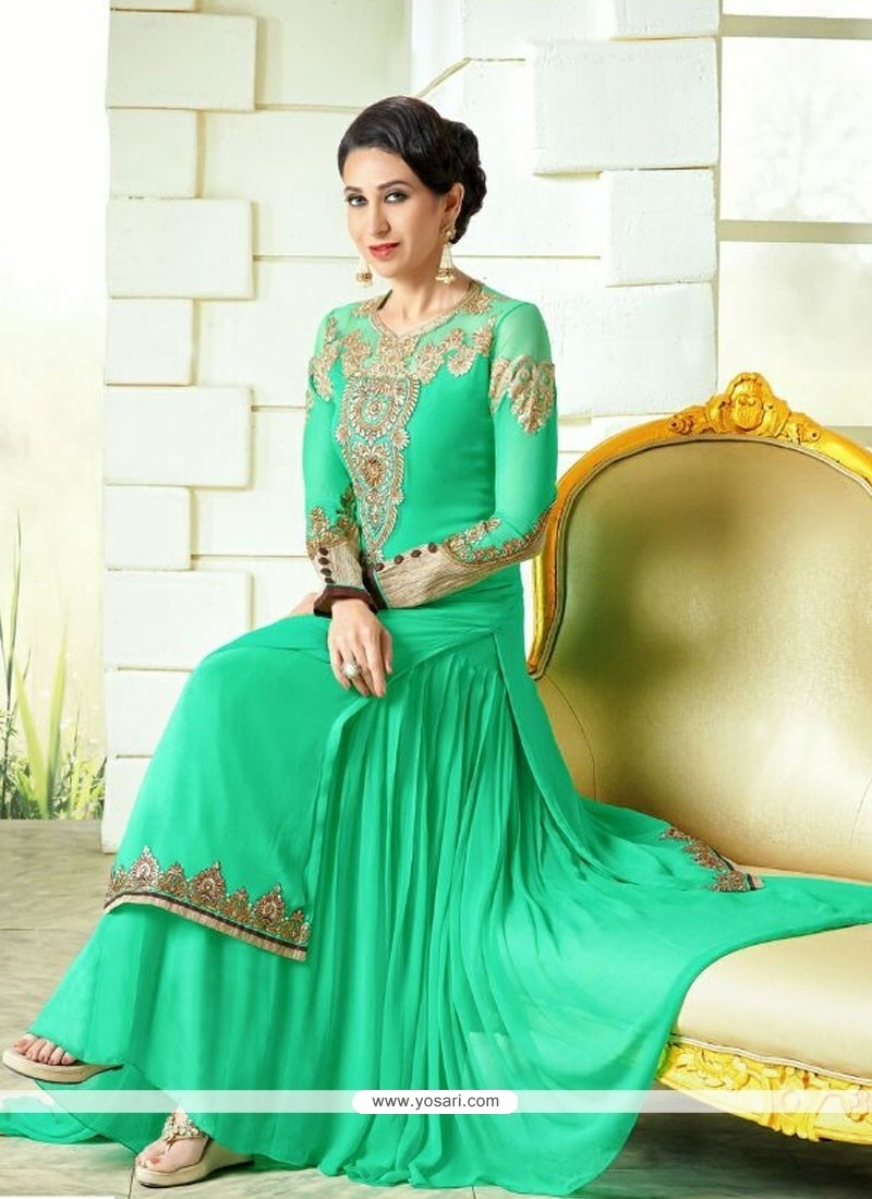 Karishma Kapoor Lace Work Sea Green Designer Salwar Suit