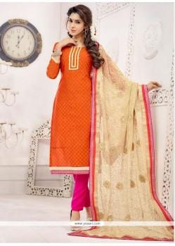 Fascinating Orange Churidar Salwar Kameez