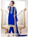 Dignified Embroidered Work Blue Cotton Churidar Salwar Kameez
