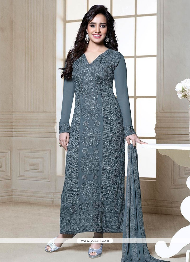 Neha Sharma Grey Resham Churidar Suit