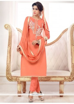 Haute Embroidered Work Cotton Churidar Salwar Kameez