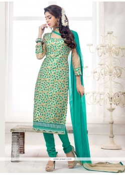 Wonderous Sea Green Churidar Salwar Kameez