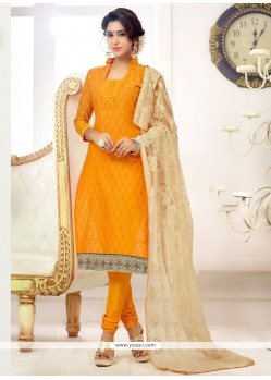 Dainty Print Work Cotton Churidar Salwar Suit