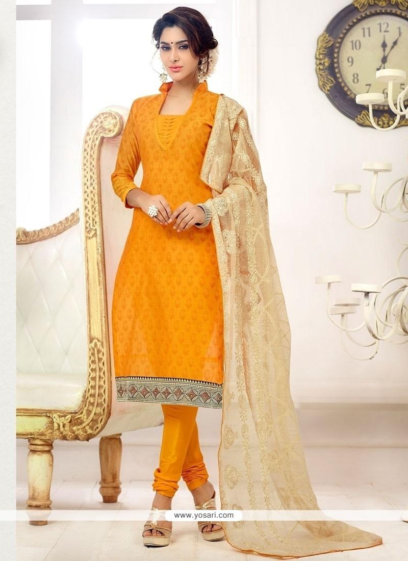 Dainty Print Work Cotton Churidar Salwar Suit