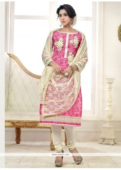 Flawless Lace Work Pink Cotton Churidar Salwar Kameez