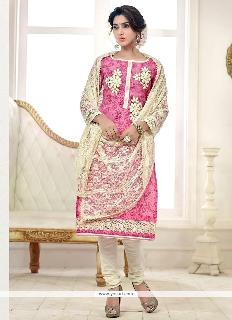 Flawless Lace Work Pink Cotton Churidar Salwar Kameez