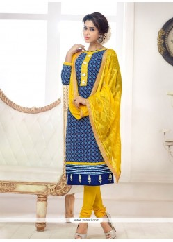 Enticing Cotton Blue Churidar Salwar Kameez