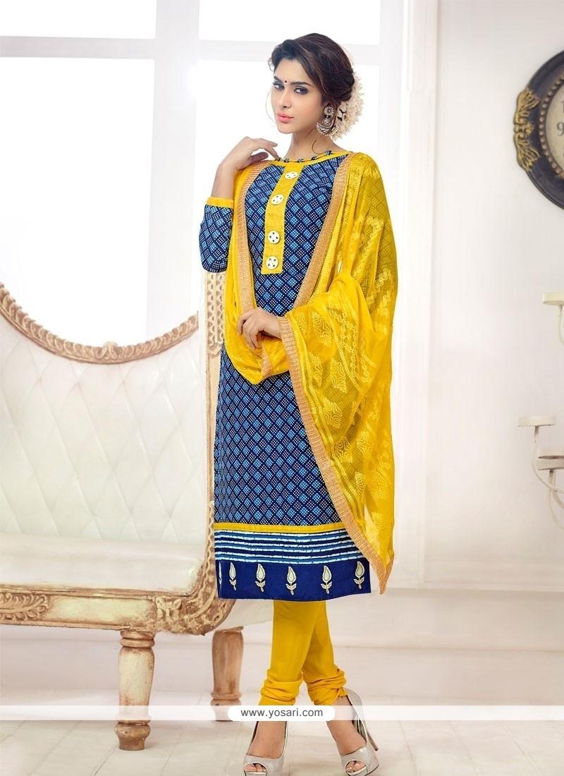 Enticing Cotton Blue Churidar Salwar Kameez