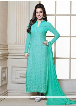 Neha Sharma Turquoise Blue Churidar Salwar Suit
