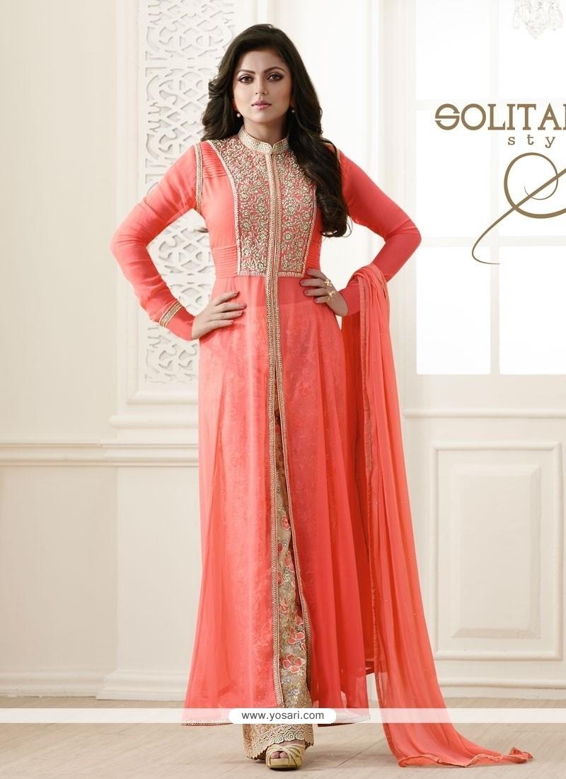 Ravishing Embroidered Work Georgette Designer Palazzo Salwar Suit