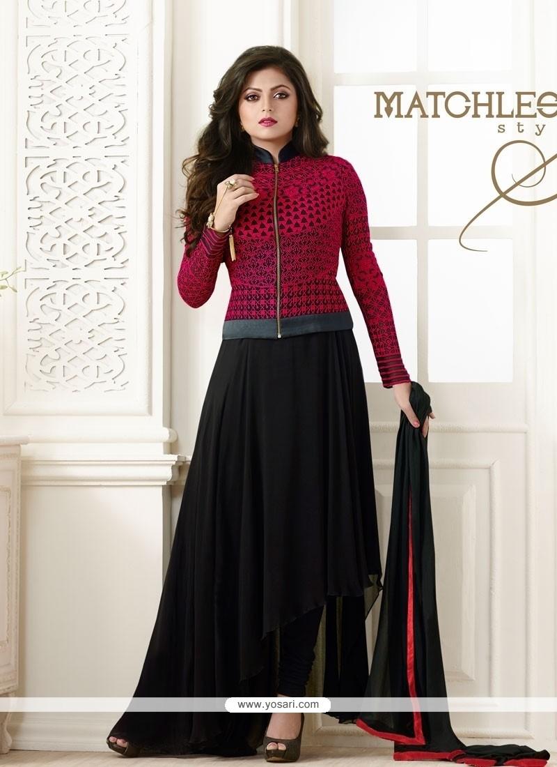 Splendid Resham Work Black Georgette Designer Salwar Suit