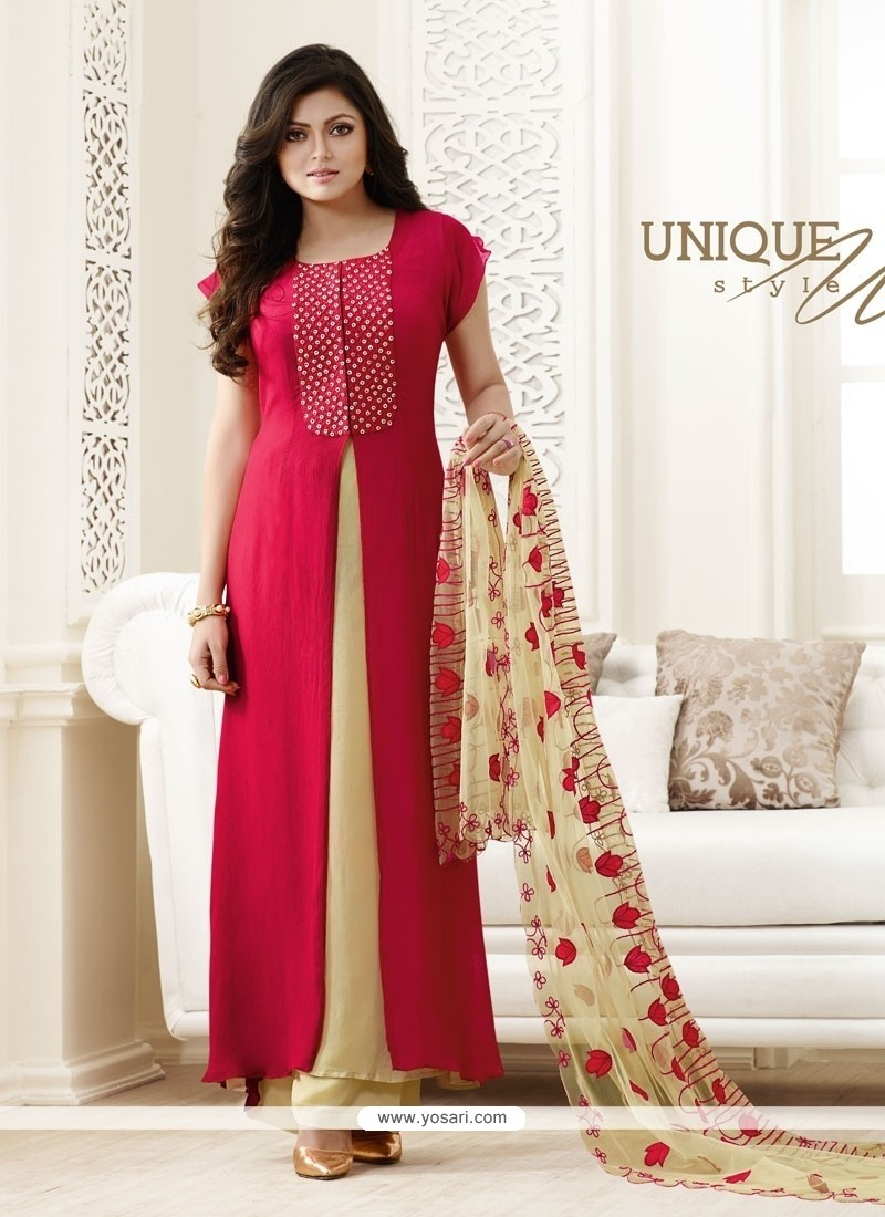 Stylish Georgette Hot Pink Designer Palazzo Salwar Suit