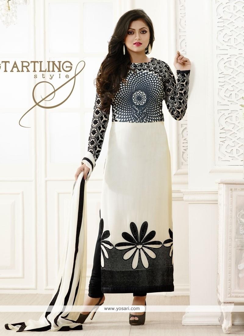 Chic White Designer Straight Salwar Kameez