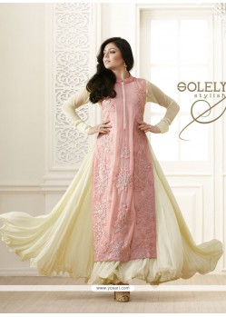Imposing Cream Embroidered Work Designer Salwar Suit