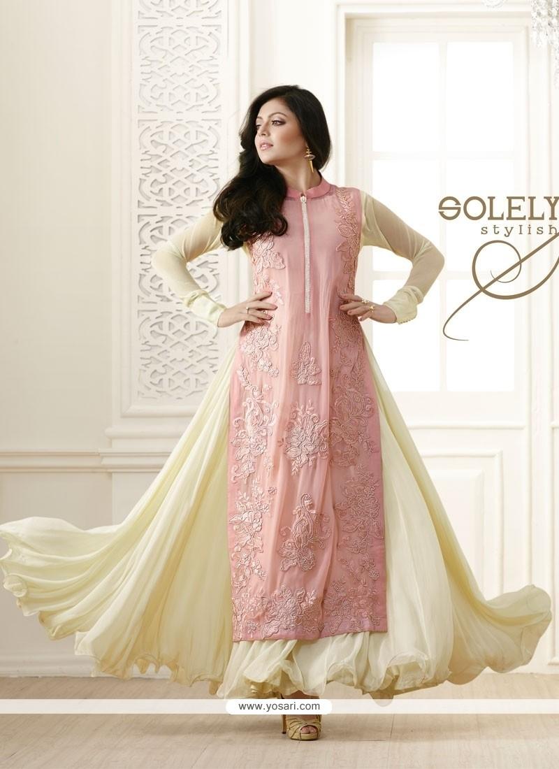 Imposing Cream Embroidered Work Designer Salwar Suit