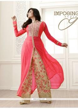 Integral Hot Pink Georgette Designer Palazzo Salwar Suit