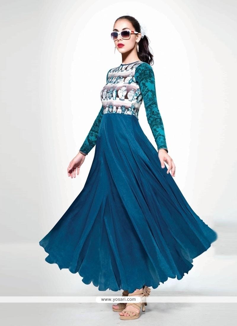 Bewildering Georgette Blue Print Work Anarkali Salwar Kameez