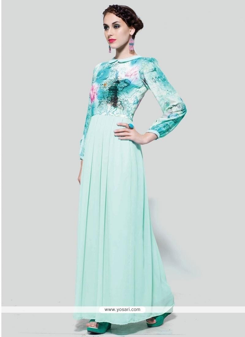 Enthralling Sea Green Print Work Anarkali Suit