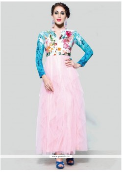 Magnificent Print Work Pink Anarkali Suit