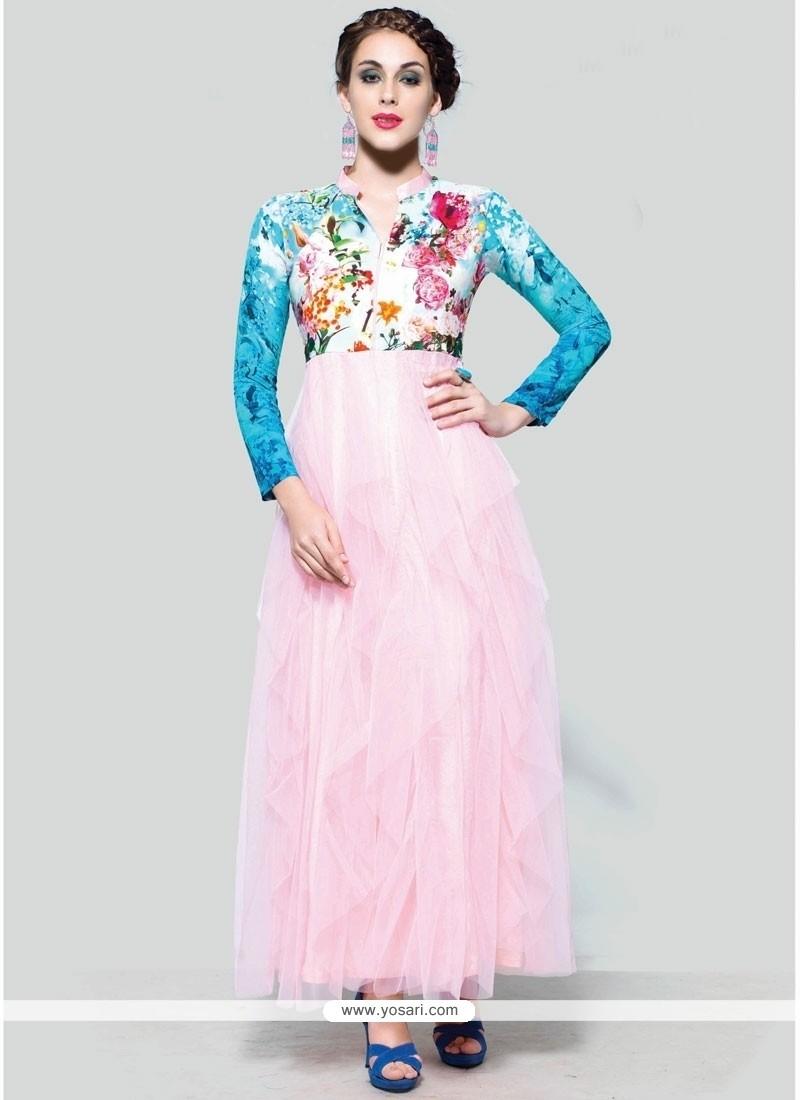 Magnificent Print Work Pink Anarkali Suit