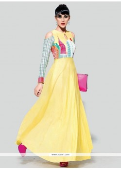 Gratifying Print Work Pure Crepe Yellow Anarkali Suit