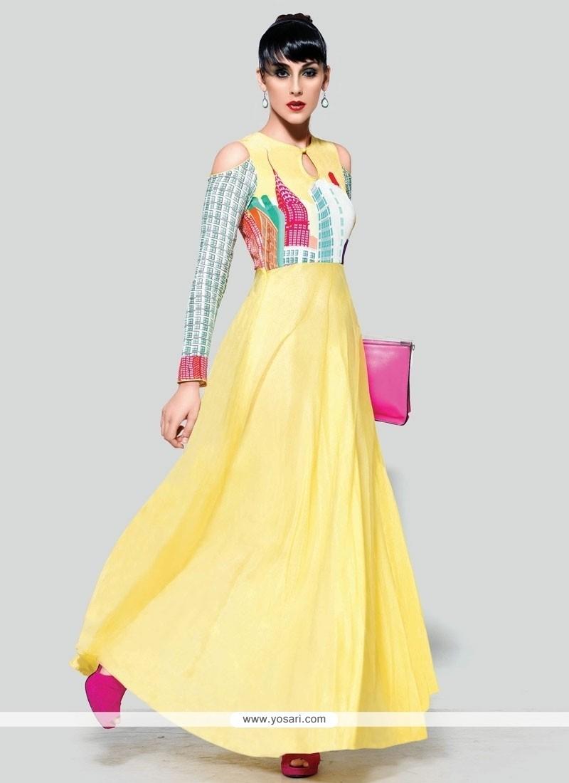 Gratifying Print Work Pure Crepe Yellow Anarkali Suit