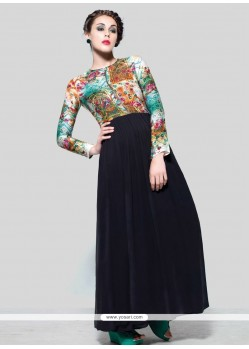 Debonair Pure Crepe Print Work Anarkali Suit