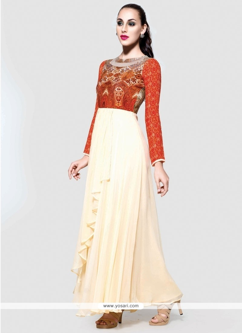 Urbane Print Work Cream Pure Crepe Anarkali Salwar Suit