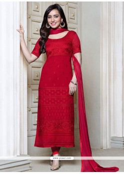 Neha Sharma Red Georgette Churidar Suit